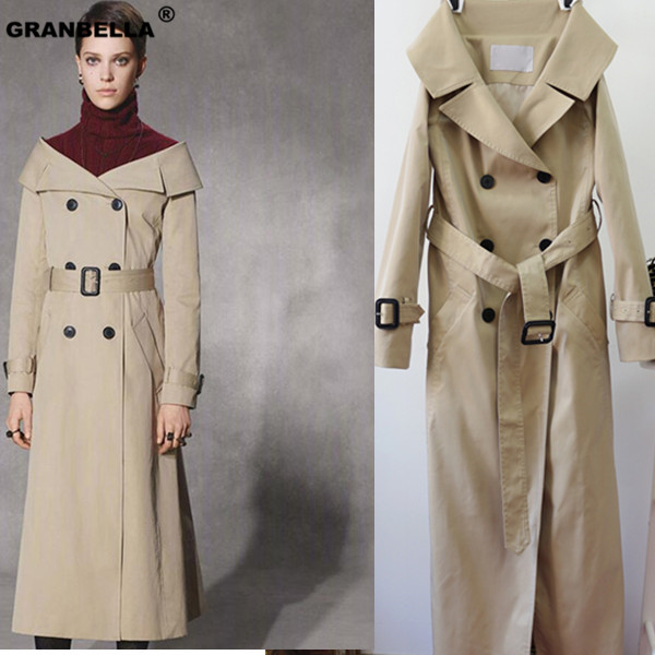 British Claasic Style off-shoulder elegant long   Trench   coats Top quality Loose ladies Coats windbreaker
