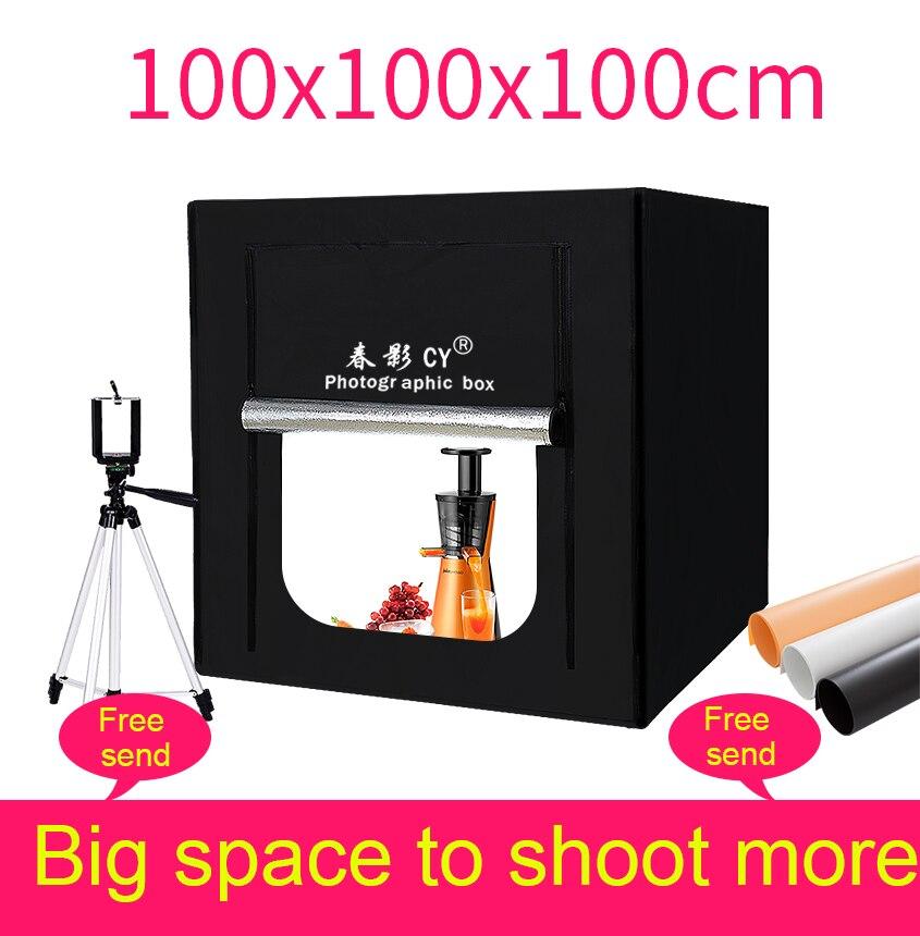 CY 100cm Photo Studio LED soft box Shooting photo light tent set+3 Backdrops+dimmer switch Childrens clothing shoting tent kits