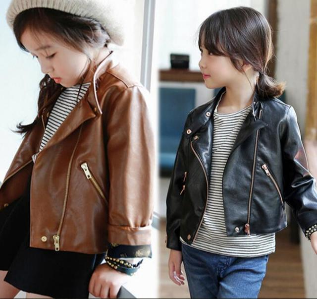 2017 Spring and Autumn Kids Girls PU Leather Jackets Coats ...