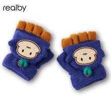 Зимние варежки для детей с милым рисунком перчатки без пальцев Утепленная одежда на зиму, милые Зимние перчатки C3105