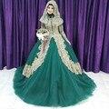 2016 Мусульманские Свадебные Платья Длинные Рукава Высокого Шеи Кружева золото Аппликация Исламский Свадебное Платье Vintage Дубай Свадебное Платье с Хиджаб