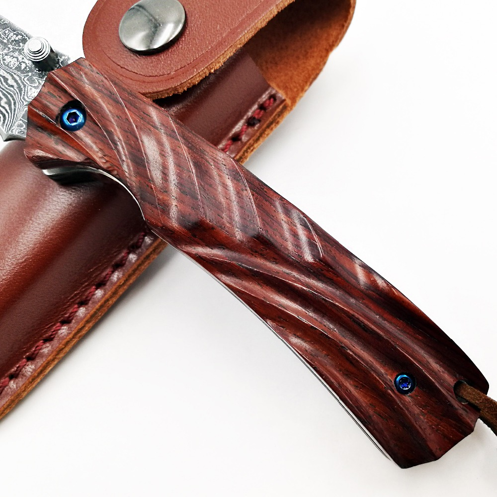 Tools : JSSQ Handmade Folding Knife VG10 Damascus Blade Rosewood Handle Pocket Knife Survival Camping Hunting Tactical Knives EDC Tools