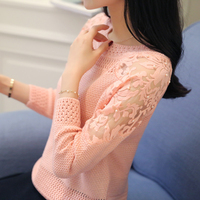 Fashion Beading O neck Women Sweater Elastic Knitted Full Sleeve Lace Patchwork Pullover Feminino Soft Femme Spring Jumper
