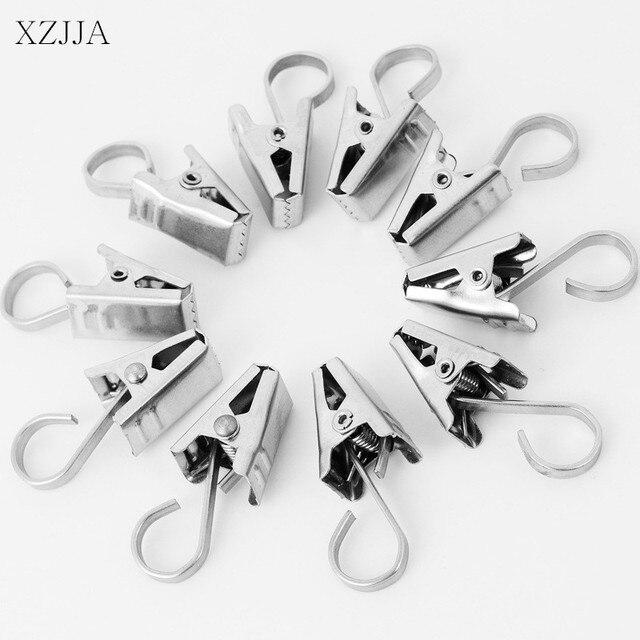 XZJJA 15pcs Curtain Rod Hook Clips Window Shower Rings Clamps Drapery Accessories Stainless Steel
