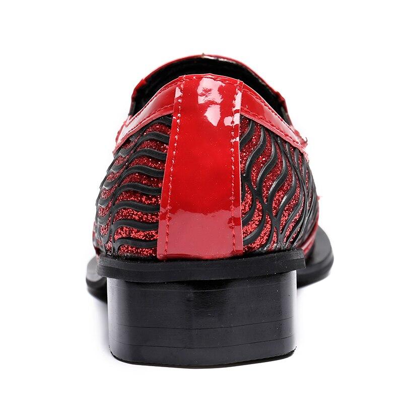 Christia Bella di Nuovo Modo Scarpe Da Sposa Rosso Glitters Mens Scarpe A Punta Bling Bling Casual Pattini di Vestito di Lusso di Marca Scarpe Oxford - 6