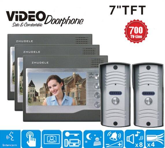 ZHUDELE Wired 7 TFT Video Door Phone Home Entry Intercom System Doorbell Security Intercom Night Vision 3 Monitors 2V3