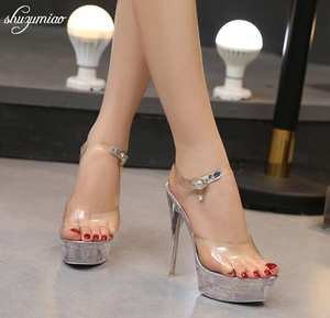 Steel Tube Dancing Shoes Women Sandals 2018 Crystal Slipper Ultra High  Heels 15cm Transparent Waterproof Cool Slippers Fine with 51b0ed896557