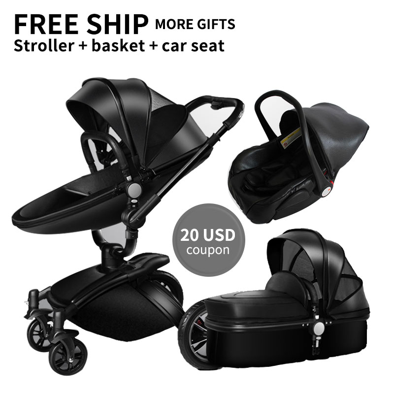 More Gifts!Free Ship! Brand baby stroller 3pcs 3 in 1 baby stroller Leather Pram Eu Car Seat Bassinet newborn car Babyfond AULON free ship brand new safe neonatal basket style car seat infants handle basket seat newborn babies car safety seats free shipping