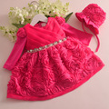 2016 Winter Baby Girl Dress Long Sleeve 1 year Birthday Dress petal Newborn Christening Gown Lace Baptism Robe With Bonnet