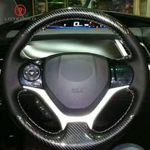 LQTENLEO кожа из углеродного волокна Черная Кожа DIY Ручная прошитая крышка рулевого колеса автомобиля для Honda Civic 9 2012