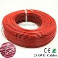 10 M de cobre Estanhado 24AWG, 2 pin Preto Vermelho levou a cabo, de 80 Graus 300 V isolado PVC do fio, Fio elétrico, Fio de tira CONDUZIDA estender cabo UL2468