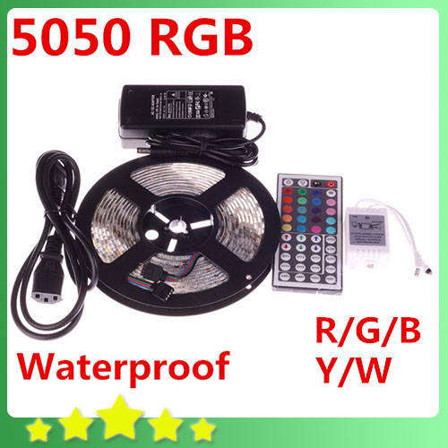 Waterproof 5050 RGB Led Strip 5M 300leds SMD DC 12V 6A Adapter 44Key Remote Controller White Warm White Blue free shipping