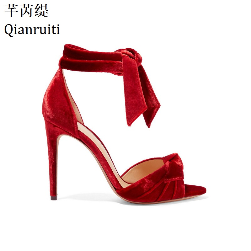 Qianruiti Red Velvet Ankle Strap Women Pumps Peep Toe Lace-Up High Heels Gladiator Sandals Summer Thin Heels Women Shoes wired 6 key usb 2 0 800 1000 1600 2400dpi optical gaming mouse