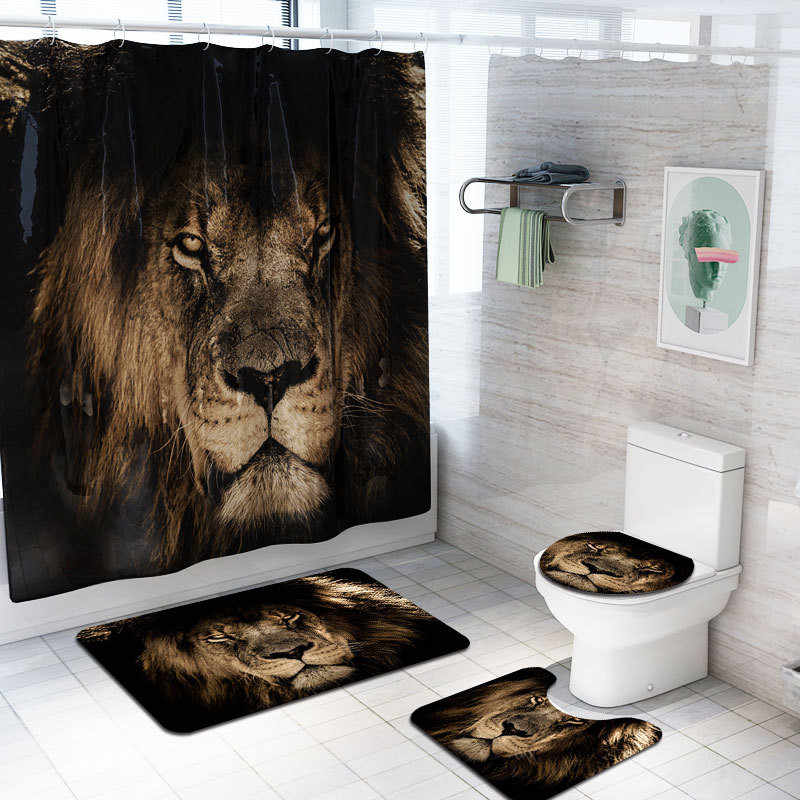 3D Printing Waterproof Polyester Bathroom Rugs and Mat Set Bathroom Carpet Cover The Toilet Lid Bathroom Rug Set XNC