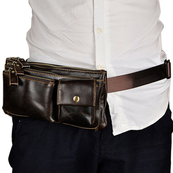 Men's Tide Cool Mobile 9 Inch Leather Chest Cross-Section Long Long Pocket Multi-Layer Zipper Clutch