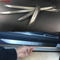 For Volkswagen VW T ROC 2017 2018 Stainless Steel Door Sill Strip Welcome Pedal Trim Auto Car Styling Stickers Accessories 4pcs
