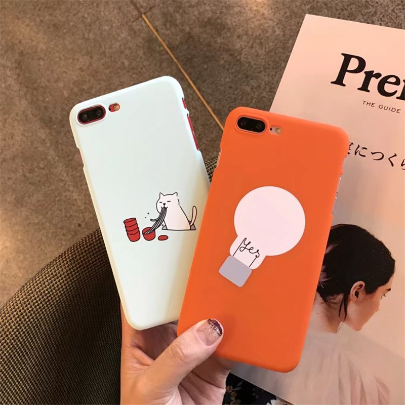 the best attitude 37946 a11d3 US $2.28 |For iPhone 7 8 6 6s Plus Fashion cute animal Cat Cartoon Light  Bulb powder blue with orange PC hard Cases For iPhone 6 7 6s 8 -in ...