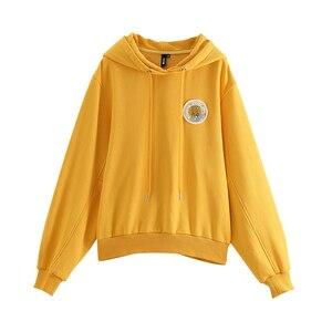 Image 5 - Toyouth 2019 Women Sweatshirts 새 도착 봄 긴 소매 느슨한 솔리드 컬러 후드 여성 캐주얼 스웨터