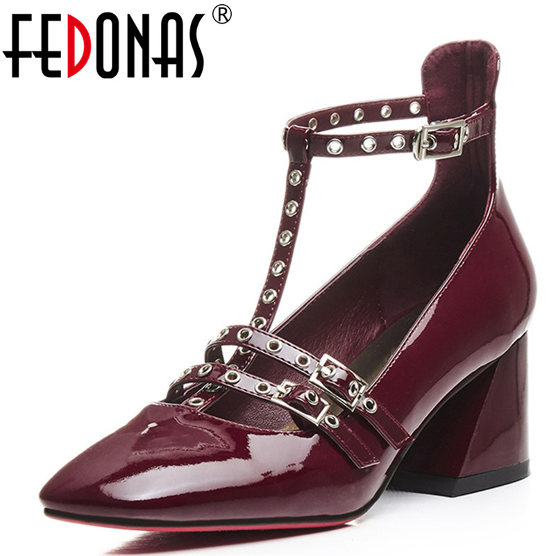 FEDONAS Punk Gladiator Women Pumps Ladies Sexy Rivets Buckle Strap Roman High Heels T-strap Autumn Party Wedding Shoes Woman new women gladiator sandals ladies pumps high heels shoes woman clear transparent t strap party wedding dress thick crystal heel