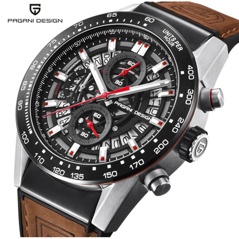 Skeleton Brown Leather Men s Watch Timer PAGANI Fashion Design Strap Quartz Mens Top Brand Luxury Waterproof