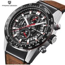 лучшая цена Skeleton Brown Leather Men' s Watch Timer PAGANI Fashion Design Watch Strap Quartz Men's Watch Top Brand Luxury Waterproof