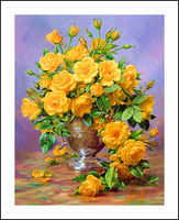 Flowers And Vase Diamond Embroidery 5D Painting Cross Stitch Mosaic Pattern Square Rhinestone Needlework Gift Home