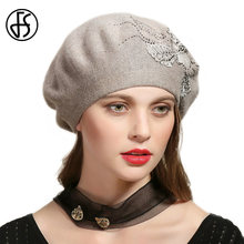 b408a884c82 FS French Beret Hat For Women Knitted Rabbit Winter Warm Hats Flower With  Rhinestone Female Baggy Caps Lady Gorro Knit Cap