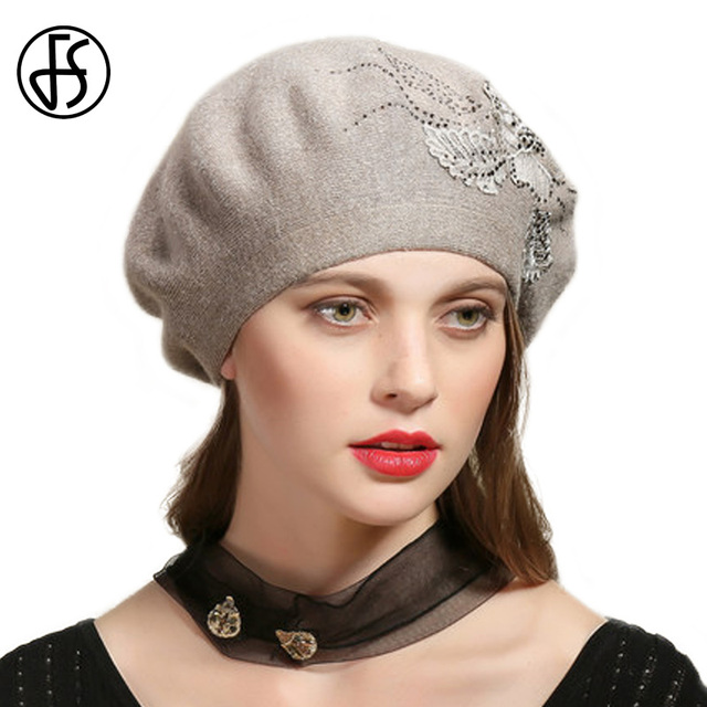 ea6e3e77ac6 FS French Beret Hat For Women Knitted Rabbit Winter Warm Hats Flower With  Rhinestone Female Baggy