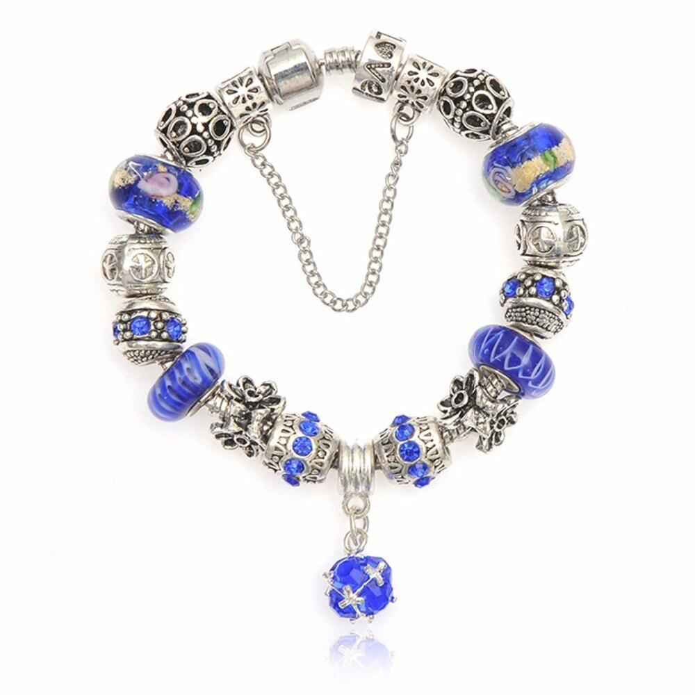 AliExpress Лидер продаж посеребренный Fit DIY браслет для Для женщин Стекло бусины ювелирные изделия DIY