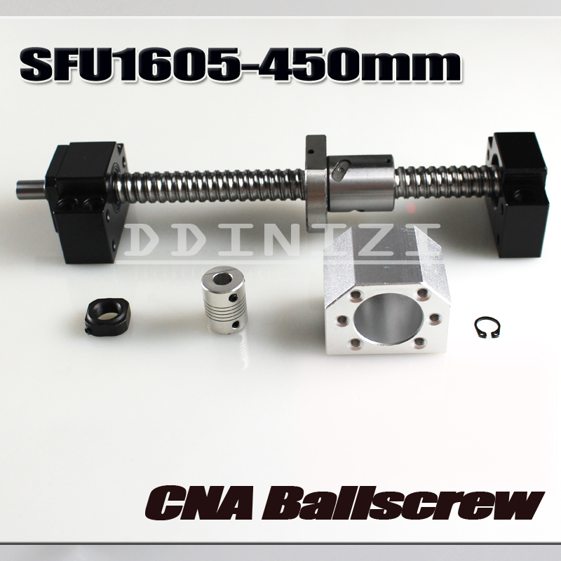 Ballscrew 450mm SFU1605 rolled ball screw C7 with end machined +1605 ball nut + nut housing+BK/BF12 end support + coupler RM1605 noulei 1605 c7 600mm ballscrew with sfu1605 ball nut of rm1605 bk12 bf12 set end machined for high stability cnc diy kit sfu