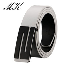 Maikun Luxury Leather Belts for Men High Quality Male Strap S Letter Smooth Buckle Belt