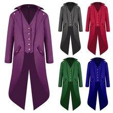 5c52943c70 Traje de Steampunk para hombre Vintage chaqueta de abrigo gótico victoriano  vestido negro Steampunk abrigo traje de Halloween