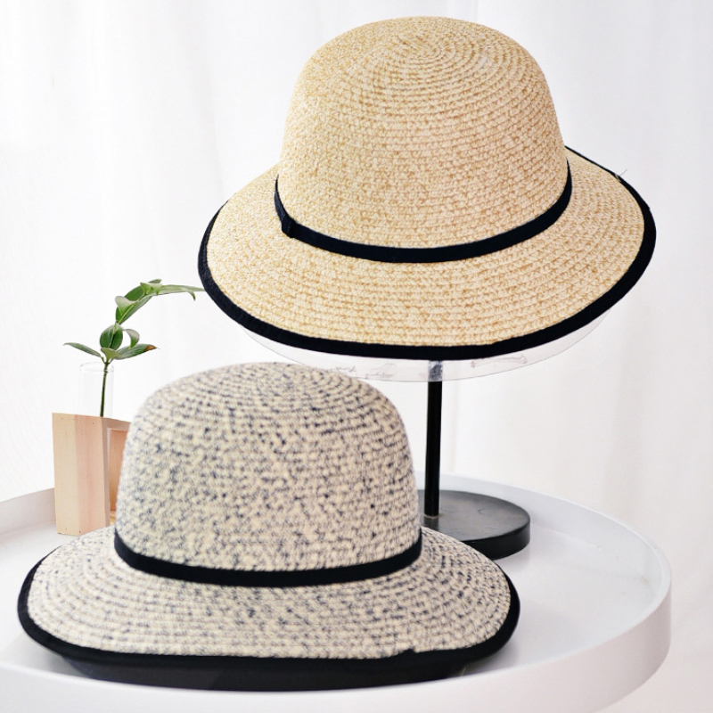 The Cheapest Price Ht1594 New Fashion Double Faced Cotton Panama Bucket Hats Flat Top Reversible Fishing Fisherman Cap Hat Wide Brim Beach Sun Hats Men's Hats