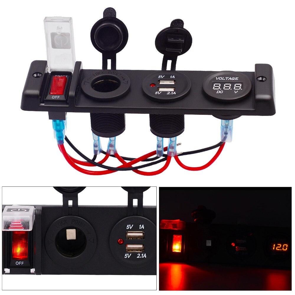 12 В в 16A Dual USB Авто переходник для зарядного устройства четыре бит мощность управление переключатель панель с вольтметр Авто прикуриватели Р...