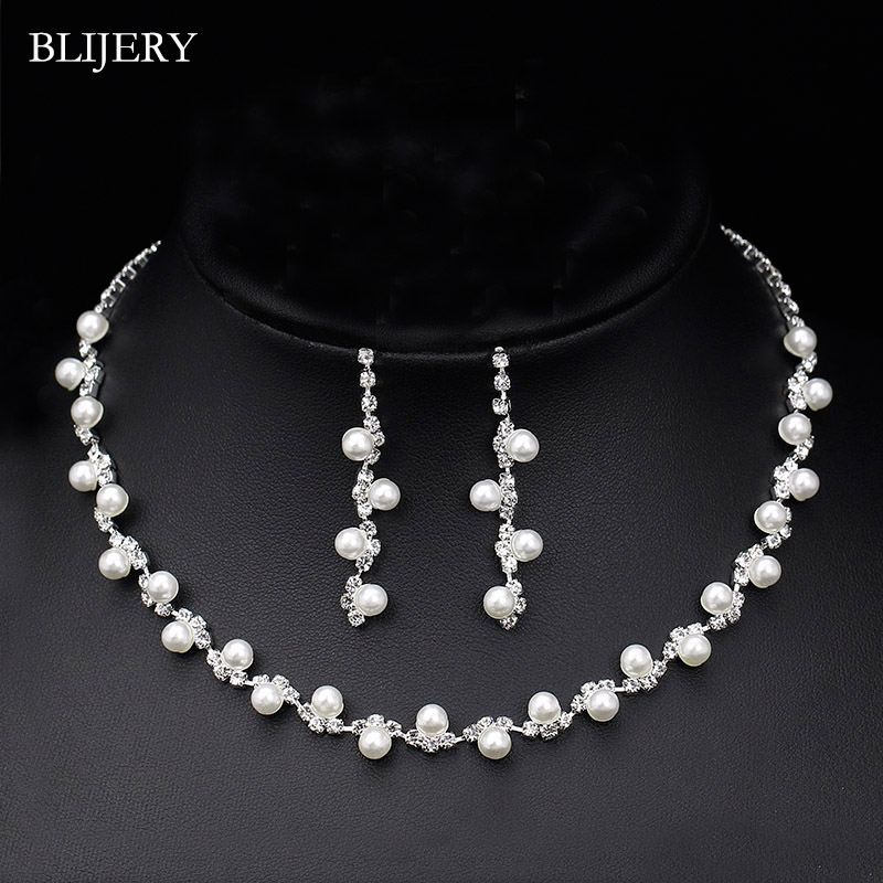 BLIJERY Fashion Simulated Pearl Bridal Jewelry Sets Rhinestone Choker Necklace Earrings African Wedding Jewelry Sets for Women