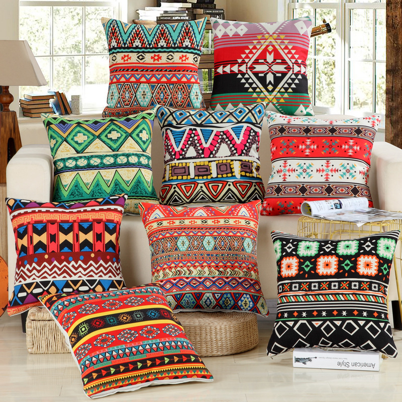 1Pcs National Stripe Boho Bohemian Style Cotton Linen Pillow Cushion Cover Home Decor Sofa Bed Decor Decorative Pillowcase 40149