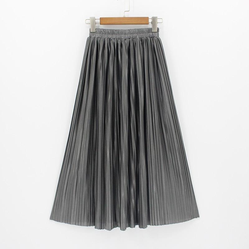 2018 New Women High Waist Pleated Maxi Skirt Fashion Bling Metallic Silk Korean Tutu Skirt Elastic Plus Size Long Skirts Saia