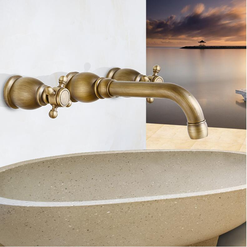 Free shipping 3 pcs antique brass wall mounted bath basin sink vanity faucet water tap bath Antique brass faucet bathroom