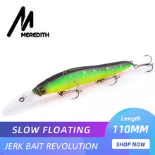 MEREDITH Minnow Wobbler Fishing Lures 110mm 15.8g Artificial Hard Bait Depth 0-3m Slow Floating Jerkbait Bass Pike Bait Tackle(China)