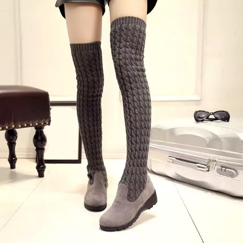 Winter Autumn Women Over The Knee Boots Knitted Woman Boots Round Toe Flat with Shoes Female Footwear 3 Colors Plus Size 35-40