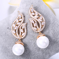 ZHE FAN White Round Simulated Pearl Dangle Earring Jewelry AAA Cubic Zirconia Leaves Shell Pearls Earrings For Women Blue Red