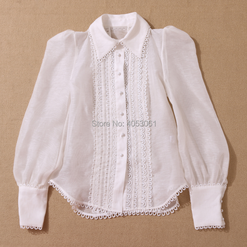5758cd0384e98b 2018 Woman Silk Linen WHITE GOLDEN DOILY BLOUSE Shirt Blouse TOP ...
