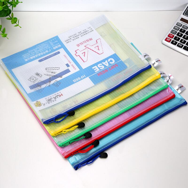 New A4 A5 A6 B5 Multiple Specifications Transparent Grid Zipper Bag File Holder Hand Bag Office Supplies Sort Out Storage