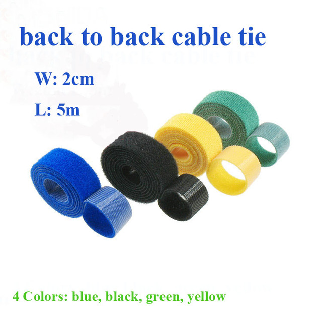 4Colors 2cm*5M Hot Nylon Reusable Cable Ties Self gripping Strap ...