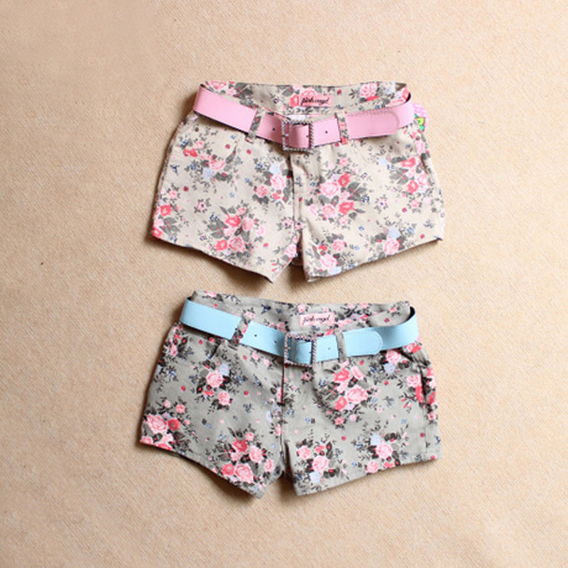New 2016 Summer Shorts With Flower Pattern Low Waist Linen and Cotton Short Fresh Floral girls Shorts