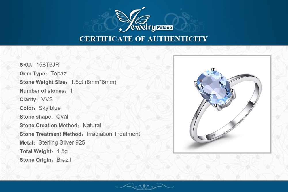 JewelryPalace Oval 1.5ct Natural Sky Blue Topaz Birthstone Solitaire แหวน 925 เงินสเตอร์ลิงเครื่องประดับสำหรับของขวัญผู้หญิง