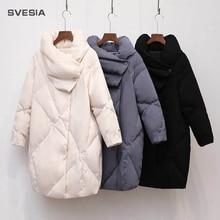 Женское зимнее пуховое пальто 2018, Женская куртка высокого качества до колена, винтажная куртка-пуховик для женщин, парка, пальто