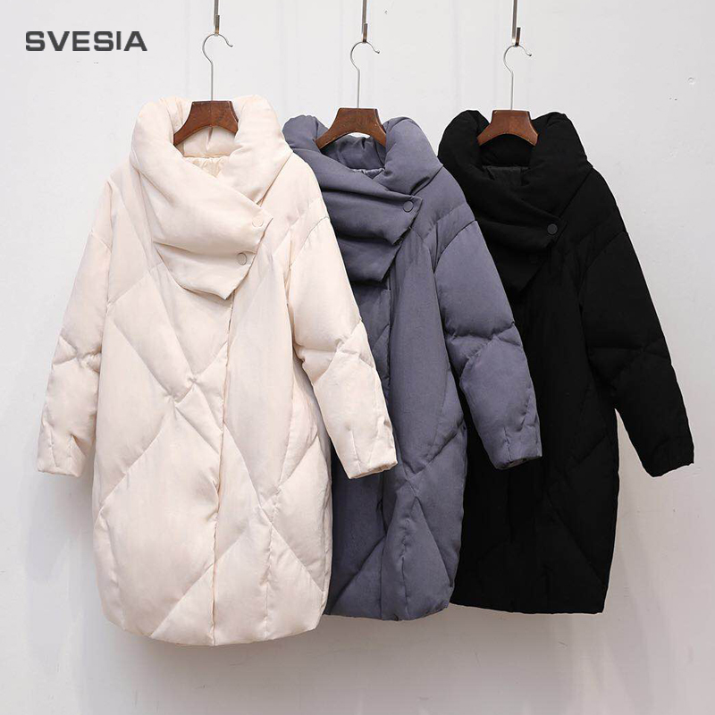 Duck   Down     Coat   Women Winter Clothing 2018 Female Jacket High Quality Knee Length Vintage   Down   Jacket For Women Parka Overcoat