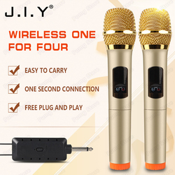 JIY Universal four Wireless Microphone mixer audio Professional Metal dynamic U band Microphones for karaoke KTV teacher meeting