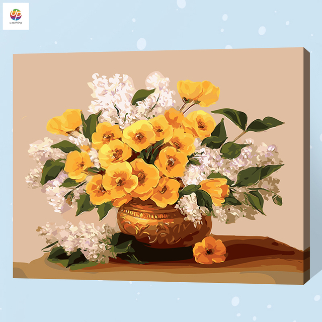 Frameless Digital Painting By Numbers Flowers Basket Floral Vase